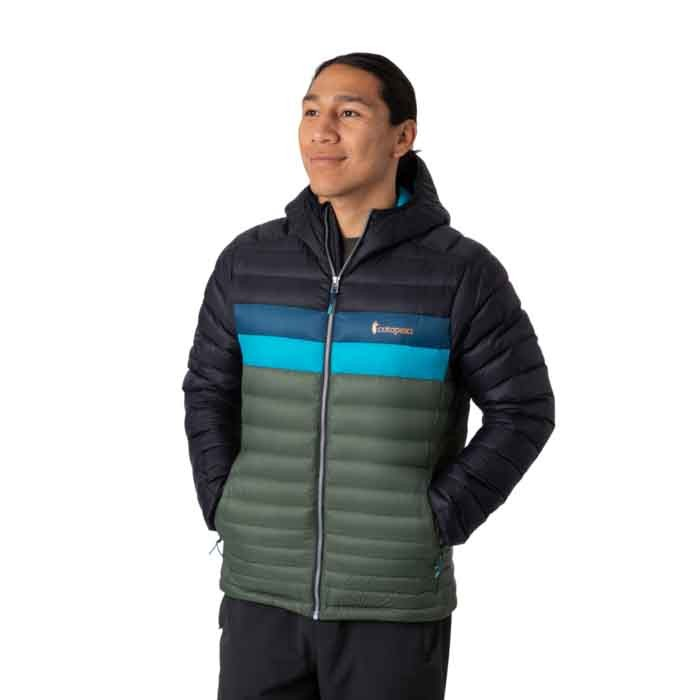 Cotopaxi Fuego Down Hooded Jacket Mens Black & Spruce