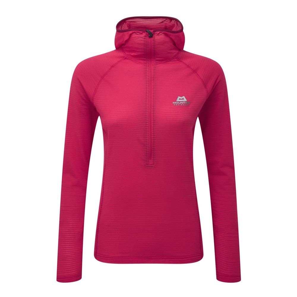 Mountain Equipment Solar Eclipse Hooded Zip Tee Womens Virtual Pink