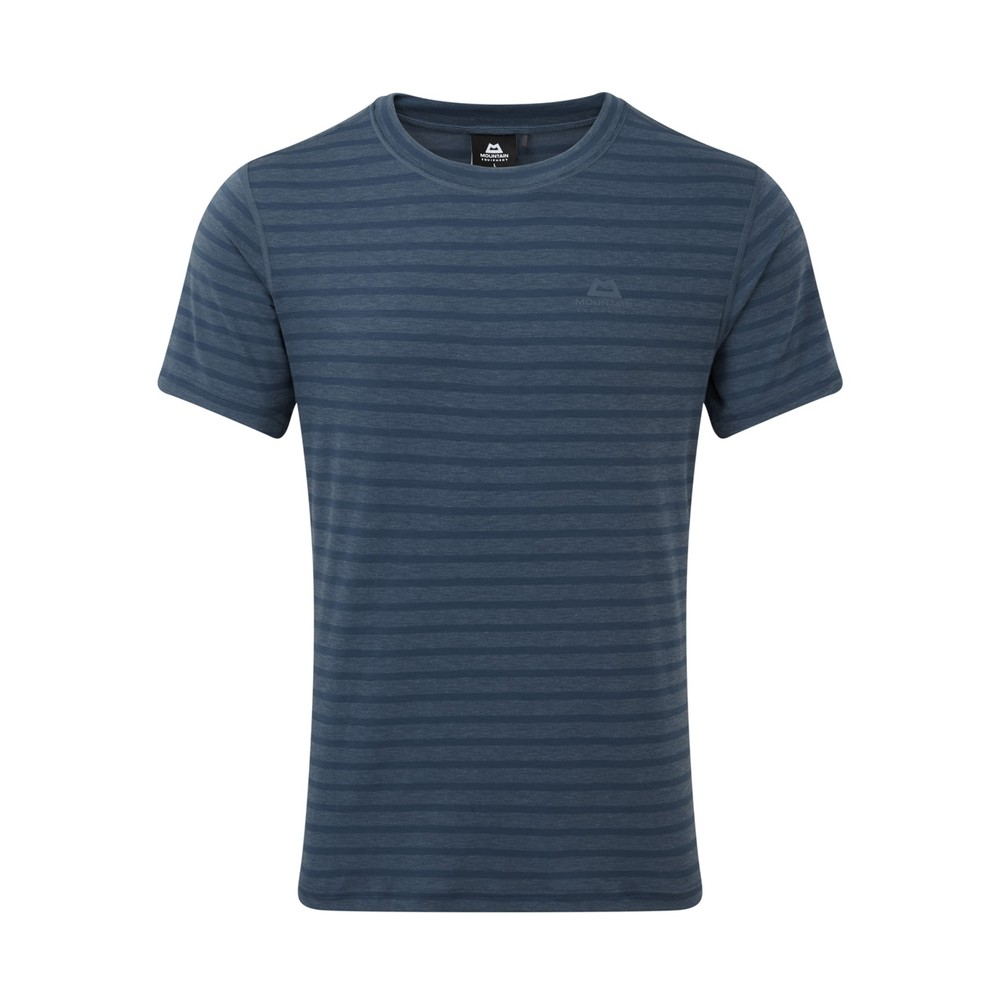 Mountain Equipment Groundup Tee Mens Denim Blue Stripe