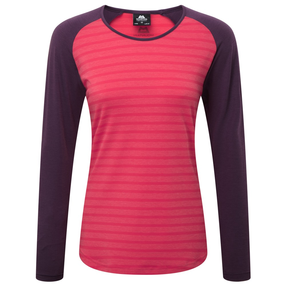 Mountain Equipment Redline LS Tee Womens Vpink str/Blackberry